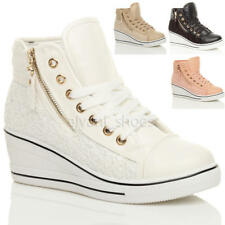WOMENS LADIES WEDGE PLATFORM LACE UP ANKLE HI HIGH TOP TRAINERS BOOTS SHOES SIZE