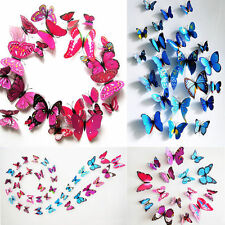 12pcs DIY 3D Butterfly Art Wall Sticker Decal Home Decor Room Decorations 9Color