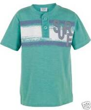 Boy's Short Sleeve Henley Neck T-Shirt - Green -100% cotton- Ages 4-9 Years- NEW