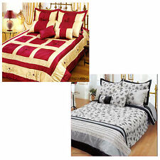7 PCE Appliqued COMFORTER Set + 4 Std Pillowcases + 2 Cushions - QUEEN or KING