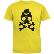 Hipster Skull And Crossbones Yellow Adult T-Shirt