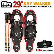 "New MTN 29"" WP RED All Terrian Snowshoes + Nordic Pole + Free Carrying Bag"