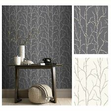 RASCH PUSSY WILLOW WALLPAPER – CREAM AND CHARCOAL – GLITTER DETAIL
