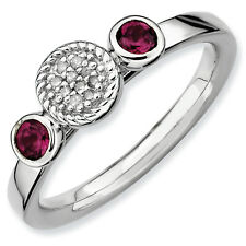 Rhodolite Garnet & Diamond Ring Silver 0.05 Ct Size 5-10 Stackable Expressions