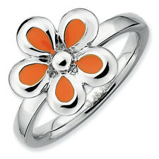 Flower Ring Orange Enameled .925 Sterling Silver Size 5-10 Stackable Expressions
