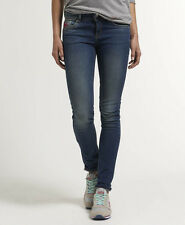 New Womens Superdry Standard Skinny Jeans San Francisco Worn Blue