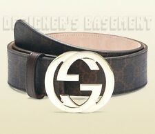GUCCI black brown GG Supreme Canvas gold INTERLOCKING G buckle belt NWT Authentc