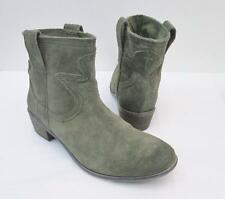 Lucky Brand Terra Olive Green Suede Cowboy Western Fashion Ankle Boots