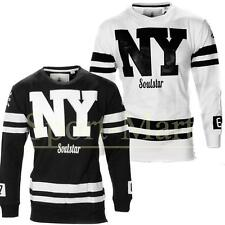 Mens Soulstar NYC Rubber Print Varsity Crew Neck Sweatshirt Jumper Top Size