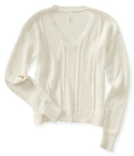 aeropostale womens solid cable-knit v-neck sweater