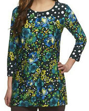 NEW SUSAN GRAVER Printed LIQUID KNIT Scoop Neck Tunic Top 3/4 Slv