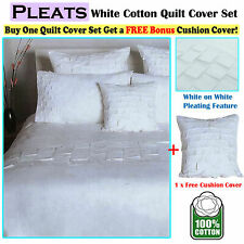 100% Cotton Pleats White Duvet Quilt Cover Set FREE Cushion Cover SINGLE DOUBLE