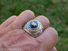 12x10mm US Military Navy Seals Rhodium Plated Solitaire Stone Men Ring Size 7-15