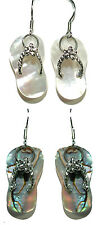 BEAUTIFUL ABALONE & STERLING SILVER FLIP FLOP DANGLE EARRINGS - 2 CHOICES