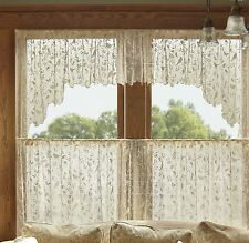 Folk Art Style Bristol Garden Swag Pair by Heritage Lace, 72x36, White or Cafe