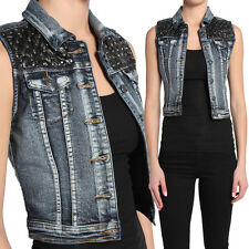 TheMogan Stud Quilted Faux Leather Washed Denim Vest Sleeveless Jean Jacket