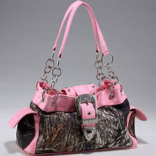 Mossy Oak® Camo Handbag Camouflage Shoulder Bag Tote with Rhinestone Buckle Trim