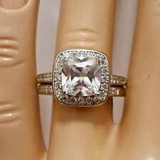 Sterling Silver wedding set CZ Round cut Engagement Ring Cushion size 5-10 New