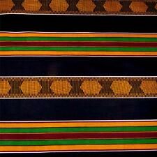 Kente Cloth Print Cotton Fabric Veritable Wax Dyed, Black, Gold, Red, Green