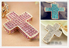 Sparkly Bling 3D Cross Crystal Gift Cute Cat Purse Key ring chain