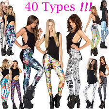 New Womens Sexy Graphic Printe Pattern Stretch Elastic Punk Leggings Tight Pants