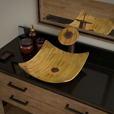 MR Direct 892 Bamboo Vessel Bathroom Sink, with Oil Rubbed Bronze Waterfall Vess