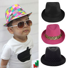 Girls Boys Fedora Jazz Hat Rolled Brim Baby Kids Unisex Trilby Cap Topper Vintag