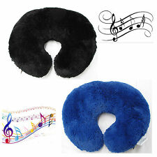 Travel MUSIC U Shaped Pillow Cushion Built In Speaker BLUE BLACK