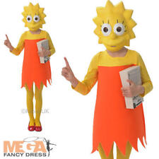 Lisa Simpson Girls Fancy Dress The Simpsons Cartoon TV Show Kids Childs Costume