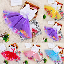 Toddler Baby Kids Girls Princess Party Tutu Lace Bow Flower Dresses 5Color 0-36M
