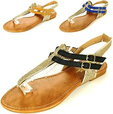 Womens T-Strap Sandals Gladiator Flats Sparkly Glitter Flip Flops Roman Thongs