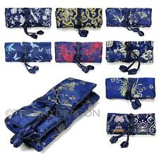 SILK JEWELRY TRAVEL BAG Blue Brocade Fabric Organizer Roll Pouch Carrying Case