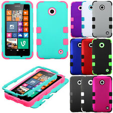 For AT&T Nokia Lumia 635 630 Color Heavy Duty Tuff Hybrid Rubber Hard Case Cover