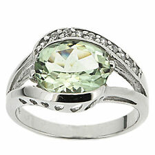 925 Sterling Silver 2.32ct Natural Green Amethyst & CZ Ring