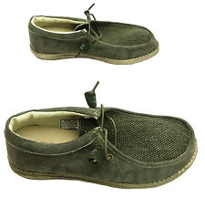 Hey Dude Wally Men's Mat Sage Khaki Canvas Elastiacted Laces Wallaby Shoes New