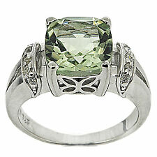 925 Sterling Silver 3.20ct Natural Green Amethyst & White CZ Ring