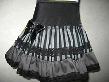 NEW COOL Baby Girls Black grey Striped Linen lace Gift Skirt Goth Rock Punk