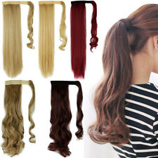 Long Natural Clip In Ponytail Hair Extension Band Wrap on Hairpiece UK Best FF50