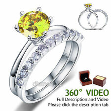 925 Sterling Silver Engagement Ring Set 2 Ct Yellow Canary Lab Created Diamond