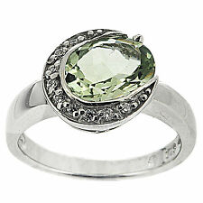 925 Sterling Silver 2.32ct Natural Green Amethyst & White CZ Ring