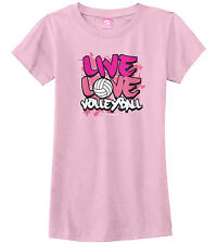 Threadrock Girls Live Love Volleyball Fitted T-Shirt Kids Sports Saying Slogan