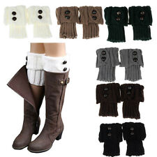 Women Winter Leg Warmer Button Crochet Knit Boot Socks Toppers Cuffs