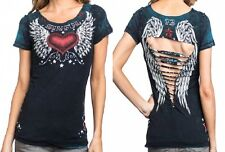 Sinful AFFLICTION Womens REVERSIBLE T-Shirt WISH Wings Tattoo Biker BKE S-L $48