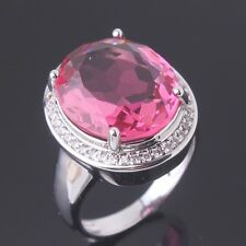 18K white gold filled Luxury pink sapphire  crystal Dating rings Size6 7 8 9 10