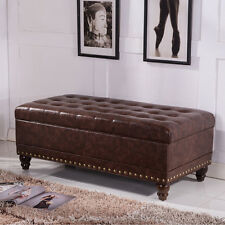 Luxury Comfort Collection Classic Tufted Storage Bench Ottoman with Nailhead Tri