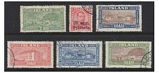 Iceland - 1923, 20a on 10a Official & 1925 7a - 50a stamps - Used- SG O153,151/5