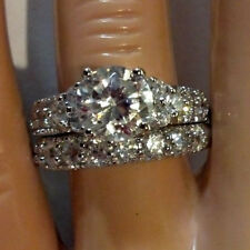 Sterling Silver wedding set CZ Round cut Engagement Ring size 4-11 Bridal New