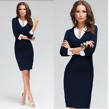 Womens V-neck Blue Bodycon Wear To Work Career Business Party Shift Pencil Dress