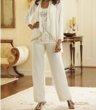 Mother Bride Groom Women's Wedding beaded 3PC pant suit prom formal plus L1X 2X