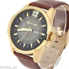 MG·ORKINA Mens Quartz Analog 3 Color Dial Date Genuine Leather Strap Wrist Watch